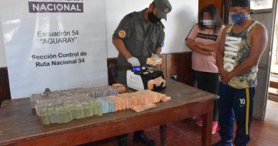 Aguaray: camionero ocultaba más de $5 millones entre dólares y pesos en la cabina